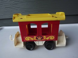 Vintage Fisher Price Little People Circus Train #991 Red Caboose Monkey Car - $14.89