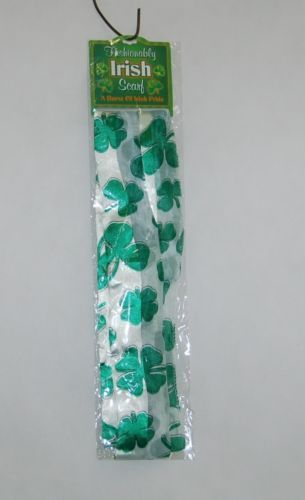 DM Merchandising StScarf24 Fashionably Irish White Green Shamrock Scarf New