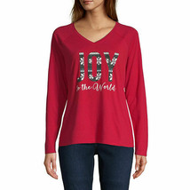 NWT  CHRISTMAS long sleeve  TOP SIZE PETITE MEDIUM - $18.80