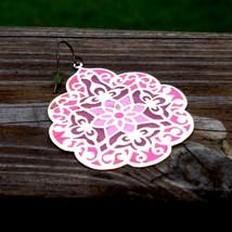 Pink and purple big drop dangle flat gold tone flower mandala shape2 thumb200