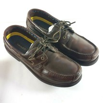 Timberland  Men Size 13 M Brown Leather Loafers Laced Moc Toe Boat Shoe 71026 - $51.87