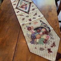 Thanksgiving Tapestry Table Runner Cornucopia Fall Fall Garden Harvest C... - $28.22