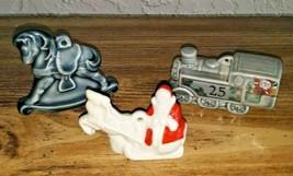 Set 3 Wade Ornaments TRAIN SANTA & ROCKING HORSE Christmas Holiday Porce... - $39.59