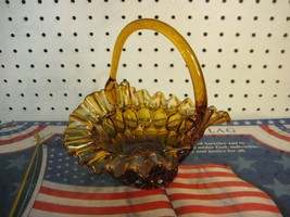 Amber Glass Ruffle Bride's or Easter Basket - Fenton Thumbprint Pattern - $11.48