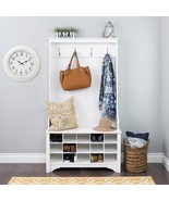 White Wooden Hall Tree Coat Rack Hooks Shoe Storage Locker Entryway Cubbies - $247.48