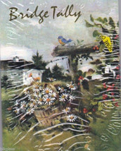 Bridge Tallies Bluebird Fence Daisy 1 Pack 8 Two Tables American Greetings Tally - $11.87