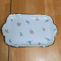 CH Field Haviland Limoges GDM Tray White Scattered Blue & Pink Flowers - $19.79
