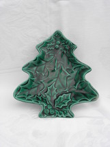Vtg Holland Mold? Christmas Tree Green Holly & Berry Cookie Plate or Can... - $7.99