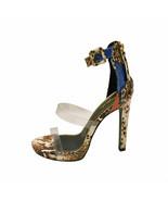 Qupid CHICAGO-43 Camel Snake Mu Women's PVC Straps Platform Open Toe Heels - $37.95