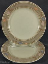 Mikasa Meadow Sun CAC02 Lot of 2 Dinner Plates Intaglio Taupe Band Tulips - $27.95