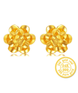 ZZZ 24k Pure Gold Flower Shape Stud Earrings Exquisite Hollow Style Beau... - $549.99