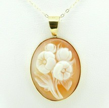 """14k Yellow Gold Floral Genuine Natural Shell Cameo Pendant 1 1/4"""" (#J4324) - $295.00"""