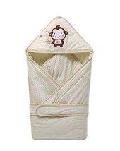 Soft Thin Cotton Monkey Banana Pattern GREEN Baby Swaddle Blanket