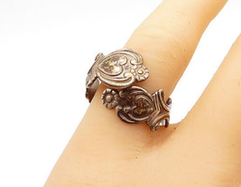 AVON 925 Silver - Vintage Floral Detail Spoon Bypass Band Ring Sz 9 - R14391 - $27.09