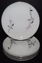 4 Cherry Blossom White Pink Fruit Bowls Fine China Japan #1067 Silver Rim  - $29.69
