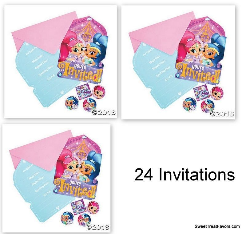 Shimmer and Shine Party Favors Party Birthday 24 Invitations Gennies Invite NEW - $19.75