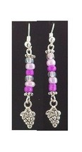 "Earrings Small Grape Cluster Wine Charm Sterling Wire Pink & Clear Beads 2"" - $13.00"