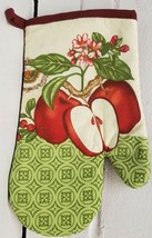 "1 Printed Kitchen Oven Mitt (10"") APPLES & BUTTERFLY, burgundy back by KC - $7.91"