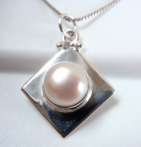 Freshwater Pearl Necklace 925 Sterling Silver Sphere on Square New Cube ... - $19.37