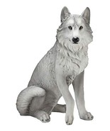 "Ebros Large Dakota Wildlife Sitting Alpha Gray Wolf Statue 20.5"" Tall Re... - $79.19"