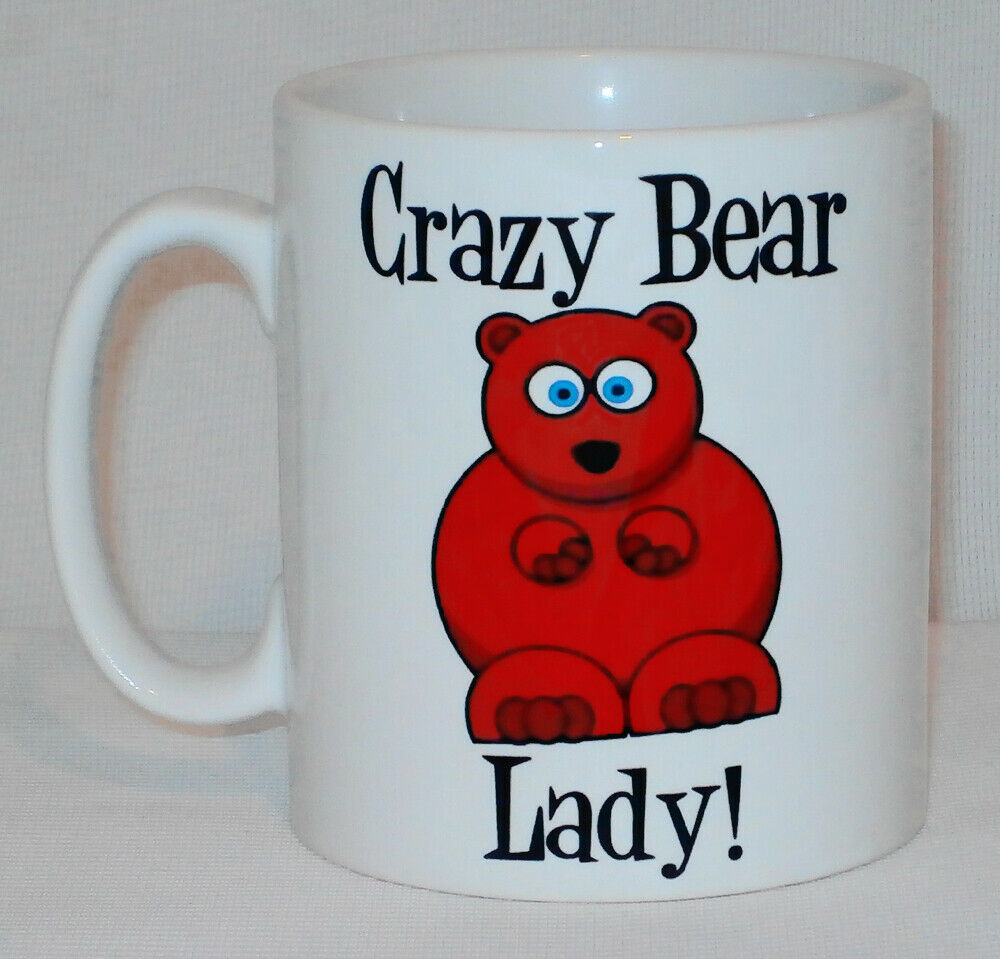 Crazy Bear Lady Mug Can Personalise Funny Animal Lover Zoo Keeper Kitch Gift Cup