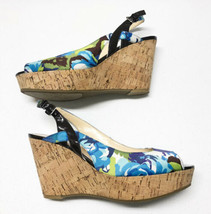 MARC FISHER Genoa Floral Cork Wedge Sandals Shoes Sz 8.5 Blue Green Ankle Strap. - $32.71