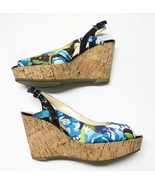 MARC FISHER Genoa Floral Cork Wedge Sandals Shoes Sz 8.5 Blue Green Ankl... - $32.71