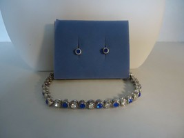 Avon Sparkling Crystal Tennis Bracelet and Earrings Set (Sapphire Color)... - $8.99