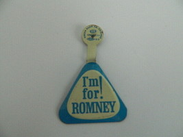 Vintage 1960's I'm for Romney Mitt's Father Triangle Fold back Pin - $9.99