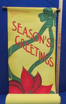 Vintage Seasons Greetings Hanging Canvas Banner Christmas Decor Poinsett... - $19.79
