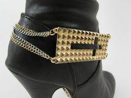 Mujer Moda Joyería Bota Brazalete Oro Placa Cruz Cadenas Zapato Bling Charm image 8