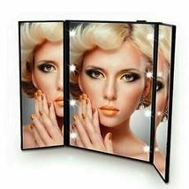 Tri-Fold Led Light Travel Makeup Mirror Pocket Vanity Mirrors Adjustabl... - $11.99