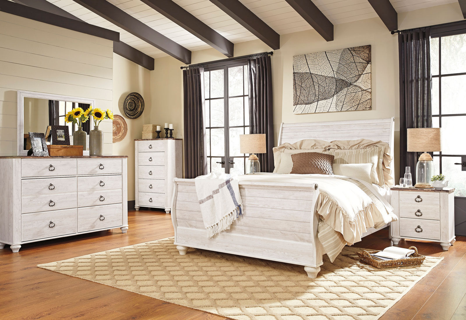 New traditional cottage white finish 5 piece bedroom set w - 5 piece queen sleigh bedroom set ...