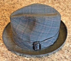 STETSON Fedora Hat Wool Blend Tweed Brown Plaid with Buckle SIZE 7 3/8 - $27.72