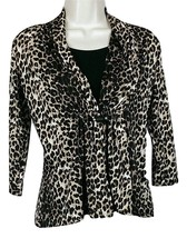 Notations Womens Leopard Print Top W/Tank Sz PS 3/4 Sleeve Made In USA - $13.81