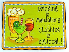Hand Carved Wooden Drinking Is Mandatory, Clothing Is Optional Cocktails Drinkin - $24.69