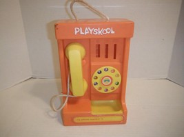 "Vintage 11"" Playskool Orange Hard Plastic Pay Phone Rotary Telephone Toy - $14.92"