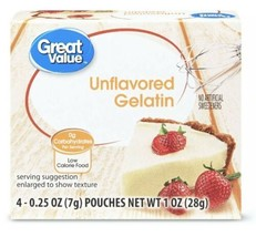 GREAT VALUE UNFLAVORED GELATIN 4 pouches - $6.30