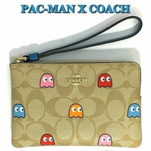 COACH Pac-Man Wristlet Bag Ghosts Corner Zip Light Khaki F72287 NWT - $90.09 CAD