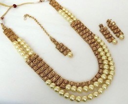 Indian Bollywood Golden Gold Plated Kundan Fashion Bridal Jewelry Necklace Set 3 - $23.74