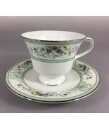 Wedgwood Agincourt Green Floral Bone China Footed Cup Saucer Set Made in... - $35.77