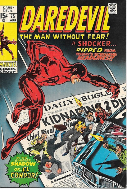 Daredevil Comic Book #75 Marvel Comics 1971 FINE+/VERY FINE-