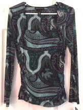 INC Blouse Silky Long Sleeve Turquoise Scallop Paisley Venetian Glam Pet... - $25.69