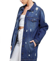 Women's Oversized Casual Cotton Button Up Distressed Long Denim Jean Jacket image 4