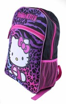Hello Kitty Animal Print School Backpack Leopard Zebra Purple Blue Pink Black image 2