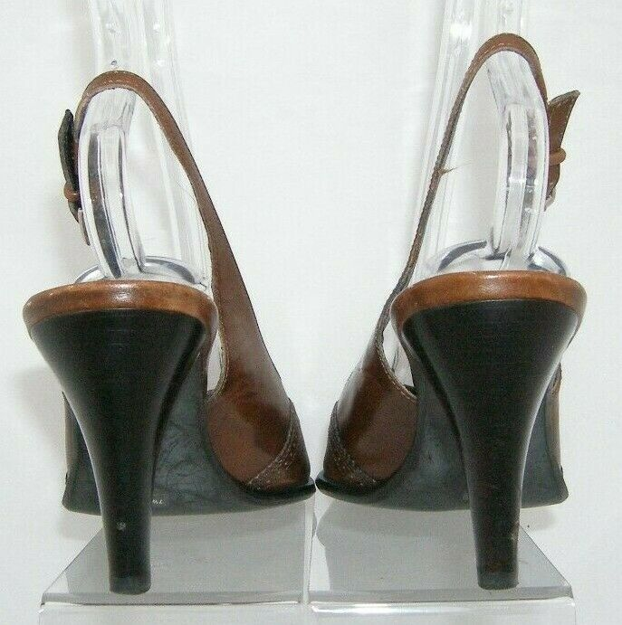 Franco Sarto brown leather pointed oxford brogue buckle slingback heels 7.5M image 4