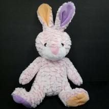 "Pink Bunny Rabbit Plush Stuffed Animal Purple Orange Ears Paws 17"" Soft Easter - $16.82"