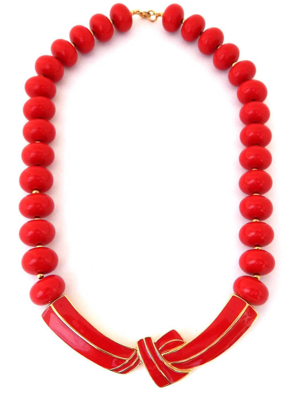 Primary image for TRIFARI Necklace Red Enamel Lucite Beads, Modernist Bow Necklace, Vintage