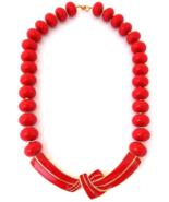 TRIFARI Necklace Red Enamel Lucite Beads, Modernist Bow Necklace, Vintage - $89.00