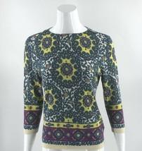 Talbots Sweater Size Medium Petite Blue Yellow Colorful Medallion Print ... - $33.66
